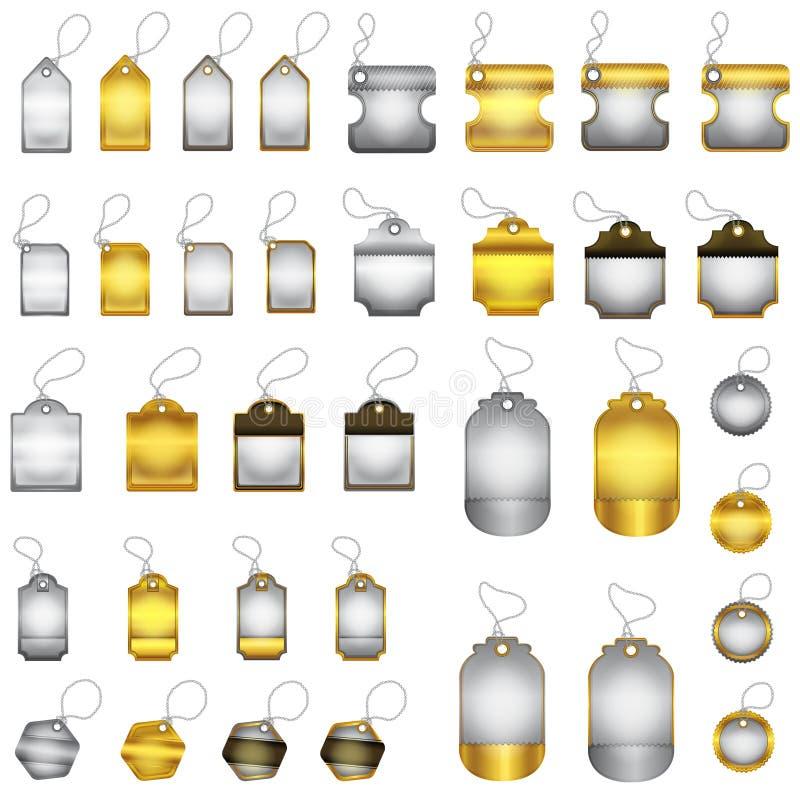 Det moderna glansiga guld- och silveremblemet med snör åt royaltyfri illustrationer