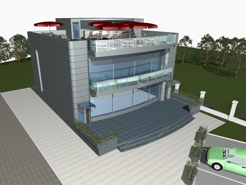 det moderna huset 3d framför stock illustrationer