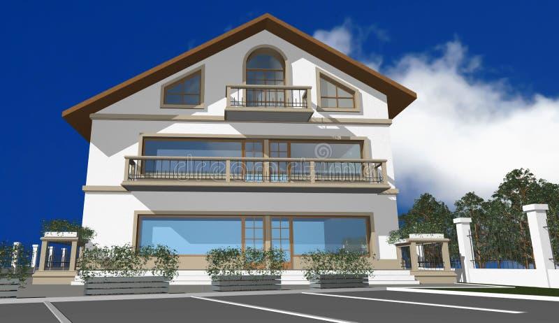 det moderna huset 3d framför royaltyfri illustrationer