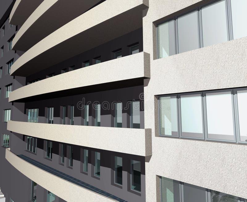 det moderna huset för byggnad 3d framför royaltyfri illustrationer