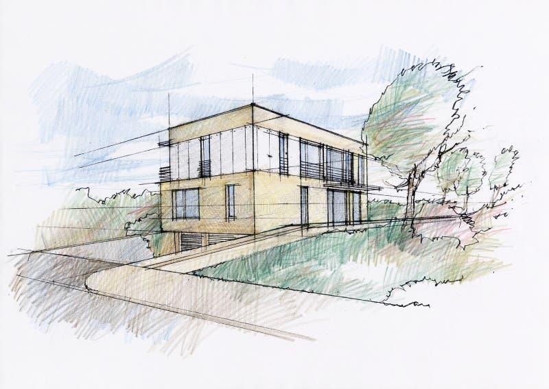 det moderna huset skissar stock illustrationer