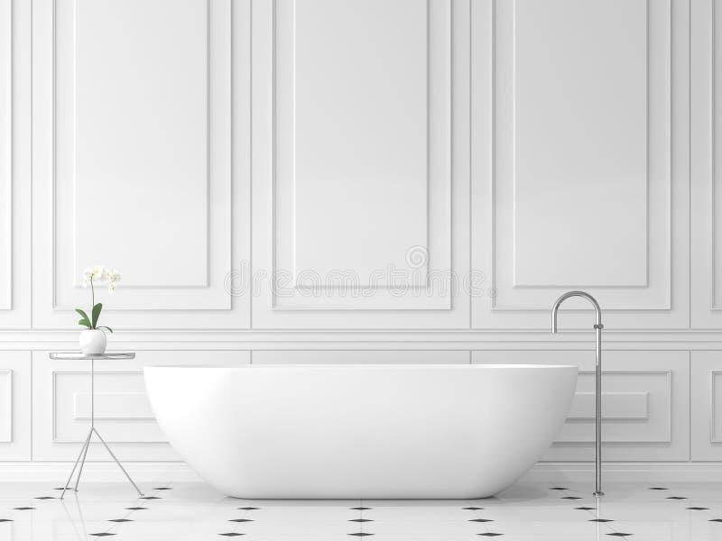 Det moderna klassiska badrummet 3d framför stock illustrationer