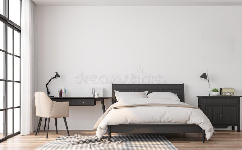 Det moderna klassiska sovrummet 3d framför royaltyfri illustrationer