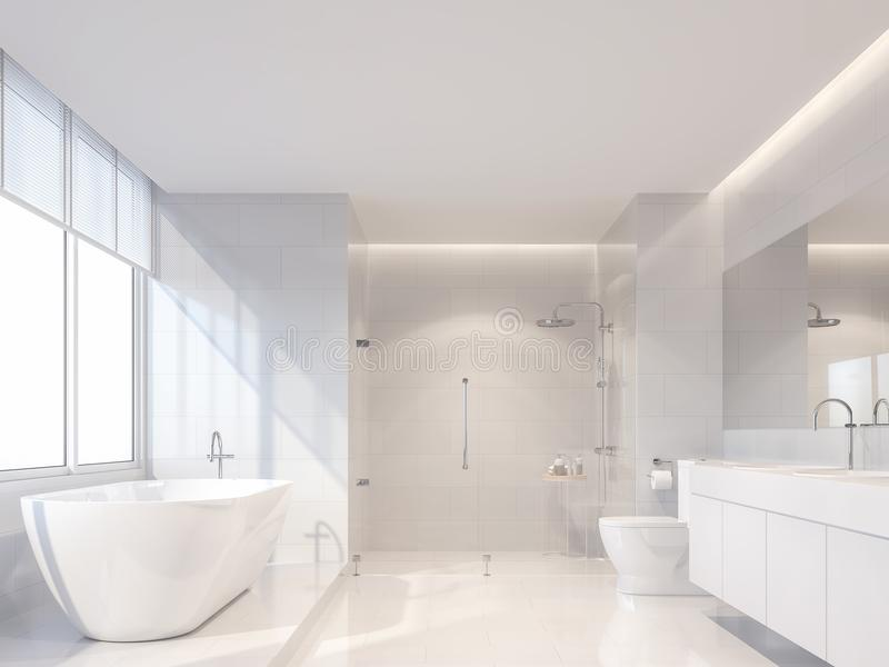 Det moderna lyxiga vita badrummet 3d framför, solen är glänsande till insidan stock illustrationer