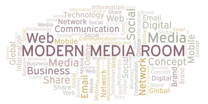 Det moderna massmedia hyr rum ordmolnet royaltyfri illustrationer