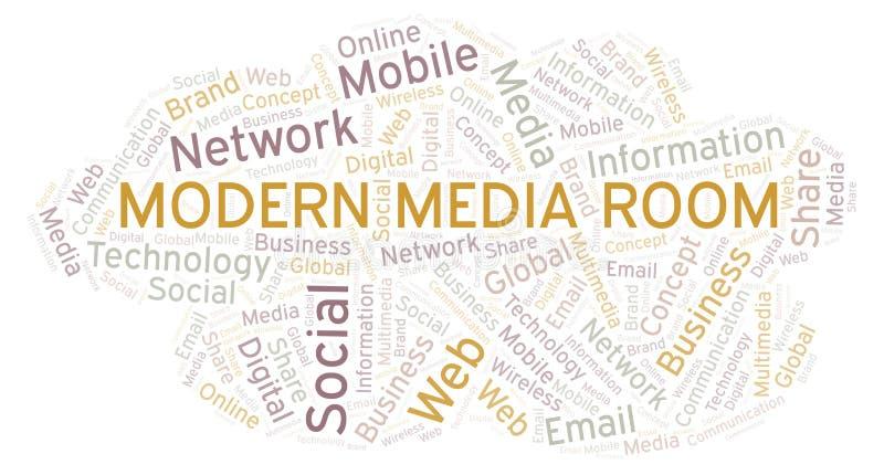 Det moderna massmedia hyr rum ordmolnet vektor illustrationer