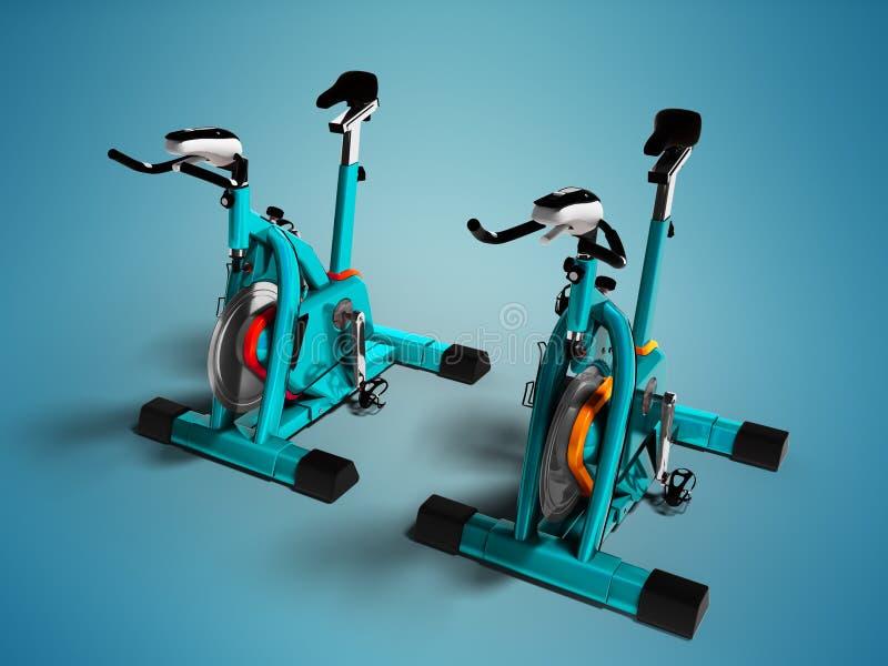 Det moderna motionscykelperspektivet 3d för turkos två framför på blått vektor illustrationer