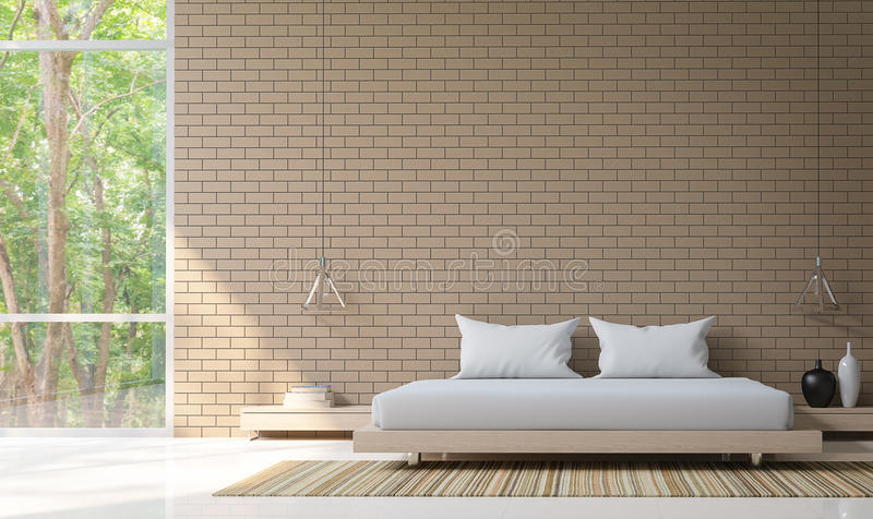 Det moderna sovrummet dekorerar väggen med tolkningbild för tegelsten 3d royaltyfri illustrationer