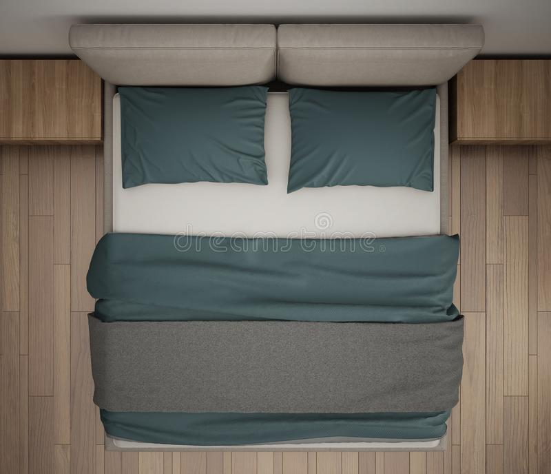 Det moderna sovrummet, den bästa sikten, closeupen på dubblettgrå färger och blått bäddar ned, parkettgolvet, modern inre royaltyfri foto