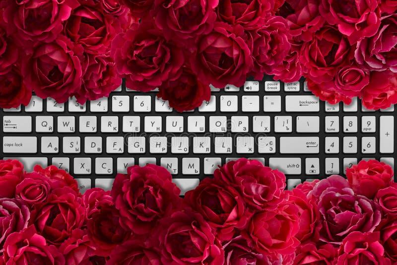 Det moderna svart- och krombärbar datortangentbordet med busken av den röda rosen blommar arkivbilder