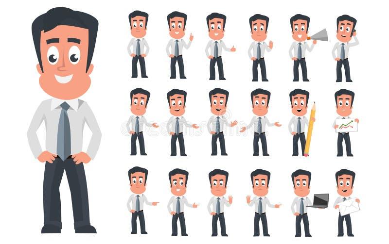 Det moderna teckenet för affärsmannen med olika ansikts- sinnesrörelser och poserar Uppsättning för symbol för tecknad filmaffärs stock illustrationer