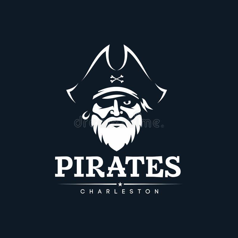 Det moderna yrkesmässiga emblemet piratkopierar för amerikanskt fotbollslag vektor illustrationer