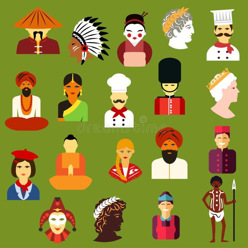 Det multietniska folket sänker avatars och symboler vektor illustrationer