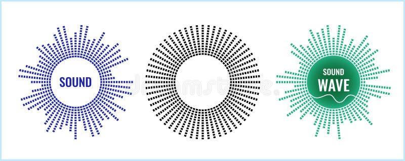 Det musikaliska symbolet av den runda utjämnaren Solid vektorsymbol vektor illustrationer