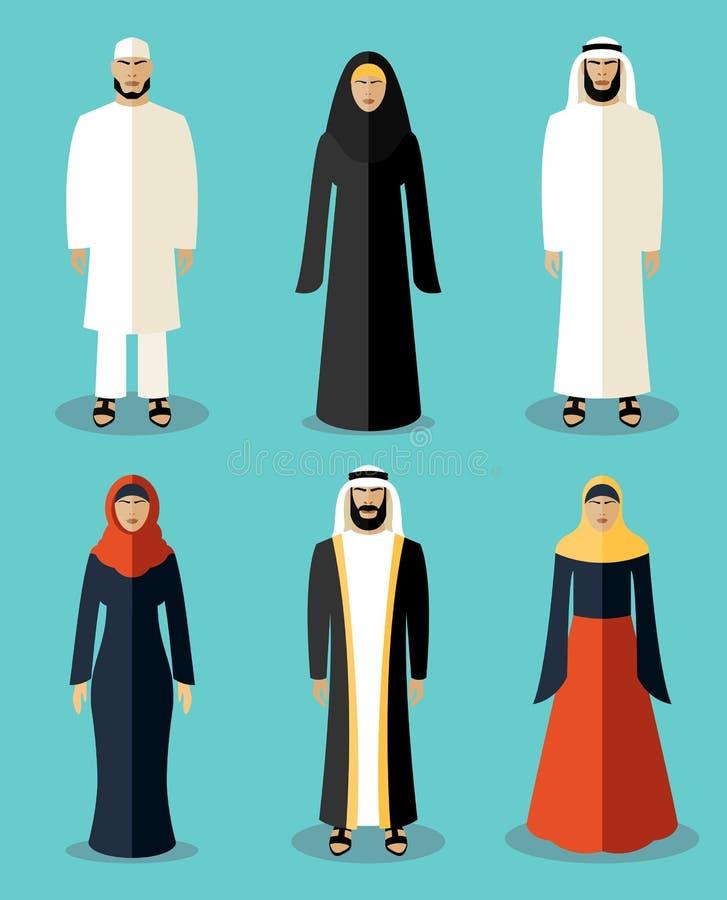 Det muslimska folket sänker symboler royaltyfri illustrationer