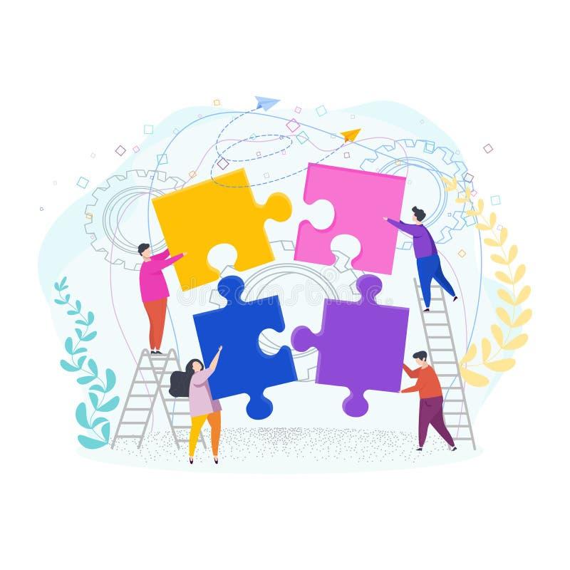 Det mycket lilla folket monterar ett pussel Metafor av teamwork vektor illustrationer