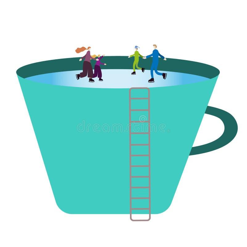 Det mycket lilla folket som familjen åker skridskor på is på skridskor i en stor kopp, en kopp av en man, tjänar som som en åka s royaltyfri illustrationer