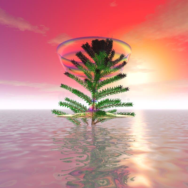 Det mystiska fantastiska trädet royaltyfri illustrationer