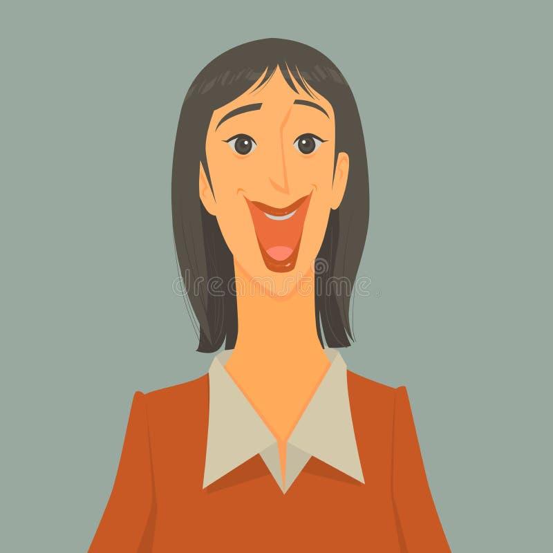 Det nätta flickaleendet är lyckligt vektor illustrationer