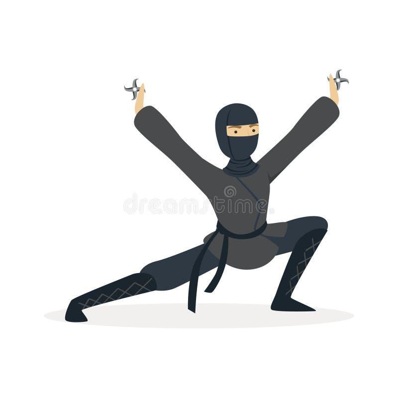 Det Ninja mördareteckenet i ett fullt svart dräktanseende i en strid poserar och rymma shurikens i hans händer, japan stock illustrationer