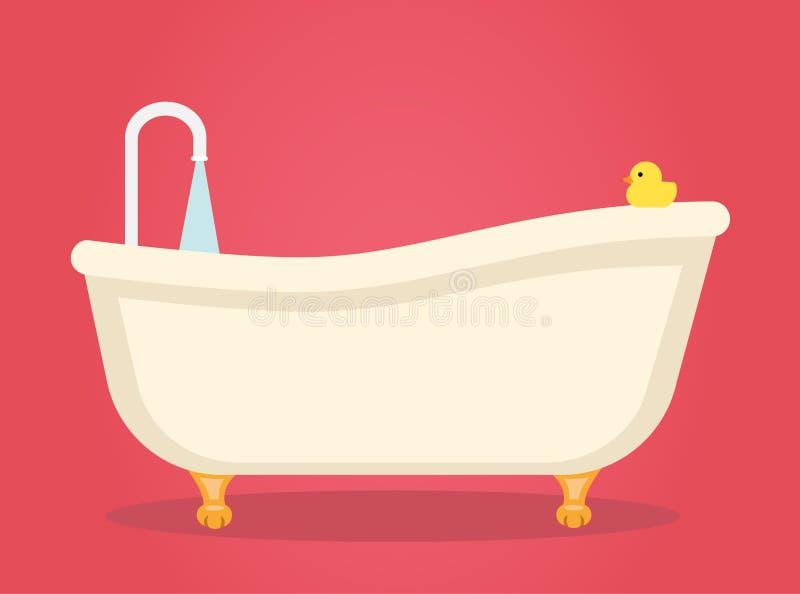 Det nostalgiska badet badar med ben stock illustrationer
