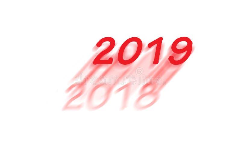 Det nya året 2019 är kommande vektor illustrationer