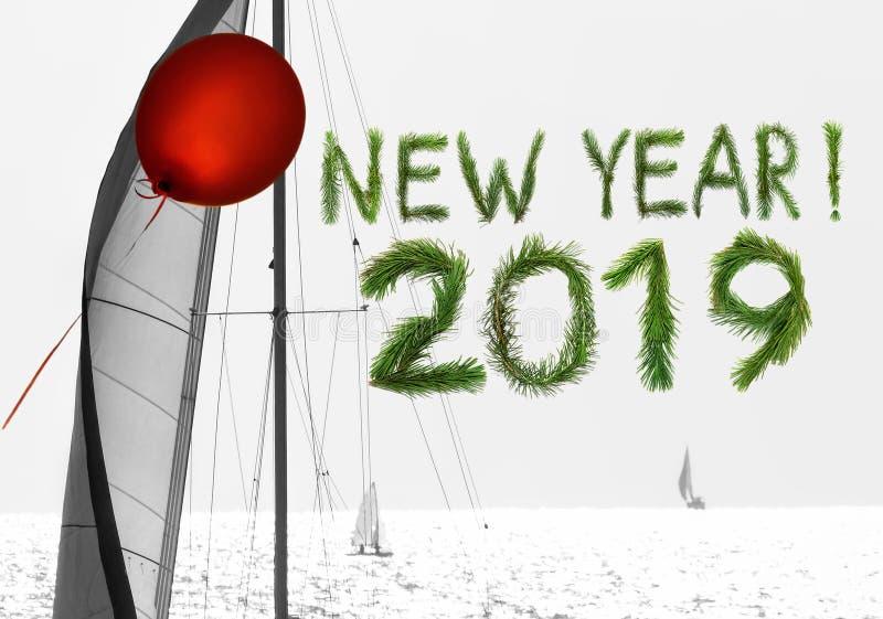 Det nya året kommer med den röda luftballongen och seglar av drömmar och hopp royaltyfri foto