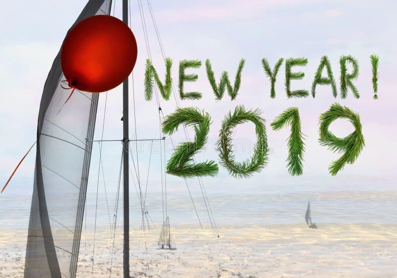 Det nya året kommer med den röda luftballongen och seglar av drömmar och hopp fotografering för bildbyråer