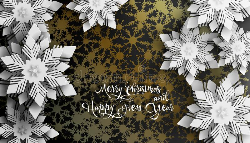 Det nya året 2019 och jul planlägger Jul skyler över brister snittsnöflingor med skugga stock illustrationer