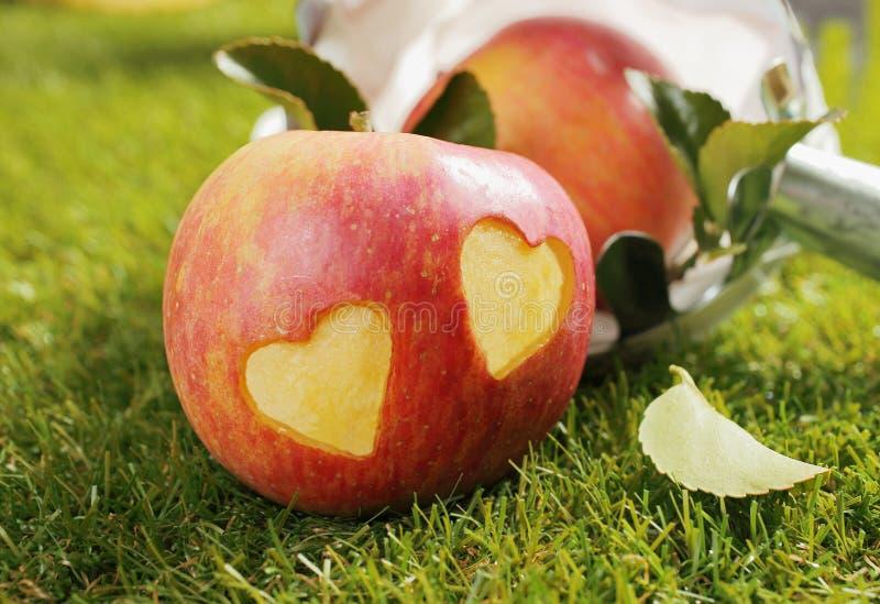Nytt äpple med incised hjärtor arkivfoton