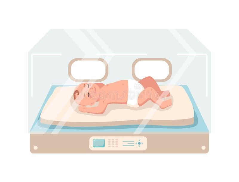 Det nyfödda spädbarnet ligger inom den neonatala intensivvårdenheten som isoleras på vit bakgrund För tidigt barn som sover i exp royaltyfri illustrationer
