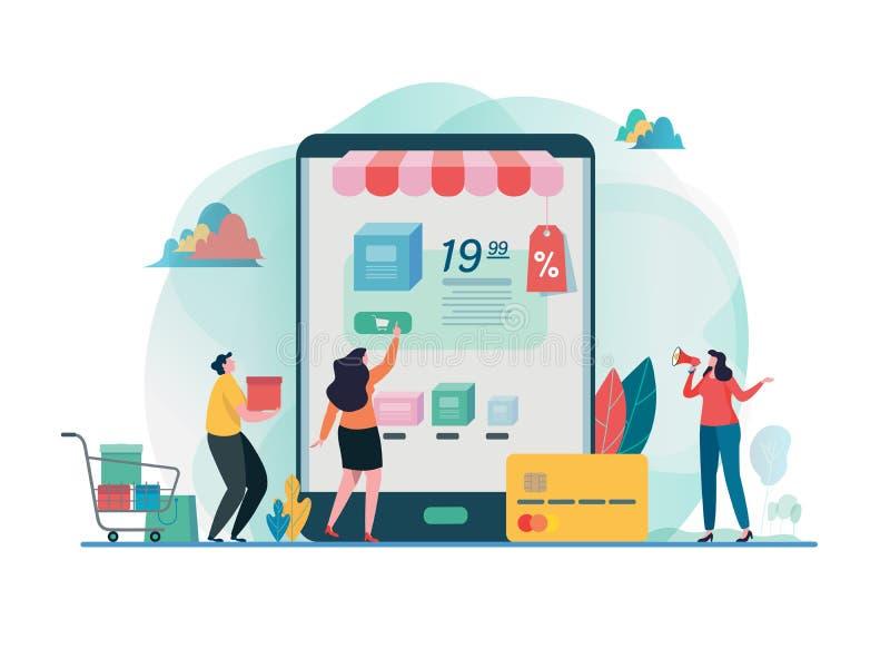 Det online-k?pet shoppar Shoppa p? mobil B?rbar dator med markisen Guld- text p? m?rk bakgrund Online-betalning Plan grafisk desi vektor illustrationer
