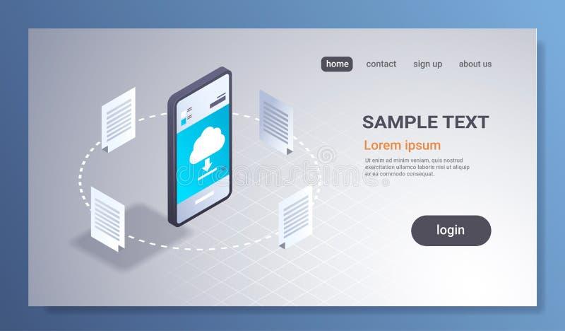 Det online-nedladda för molnsynkronisering för den mobila applikationen beräknande begreppet knyter kontakt isometrisk synkronise royaltyfri illustrationer