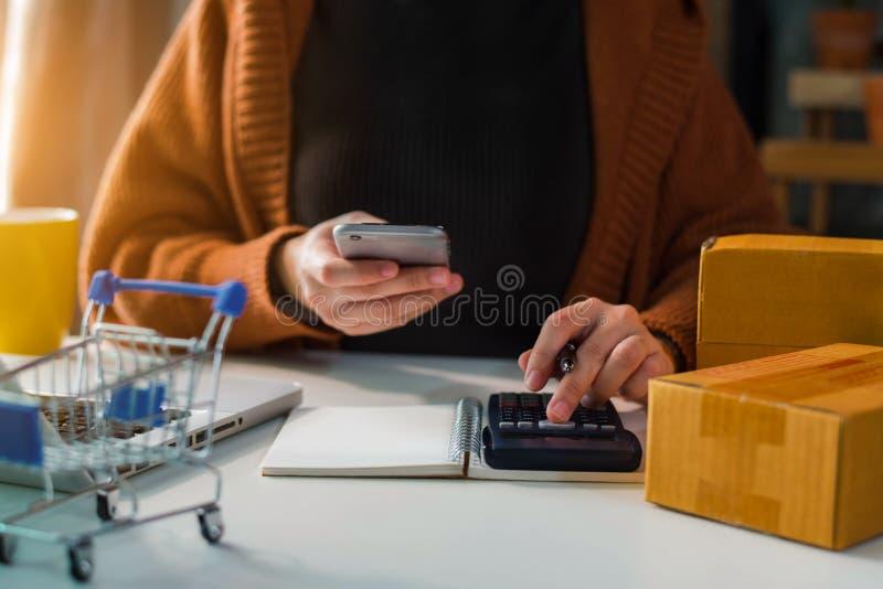 Det online-shoppa begreppet, kvinnor som direktanslutet shoppar, är en form av den elektroniska komrets royaltyfri fotografi