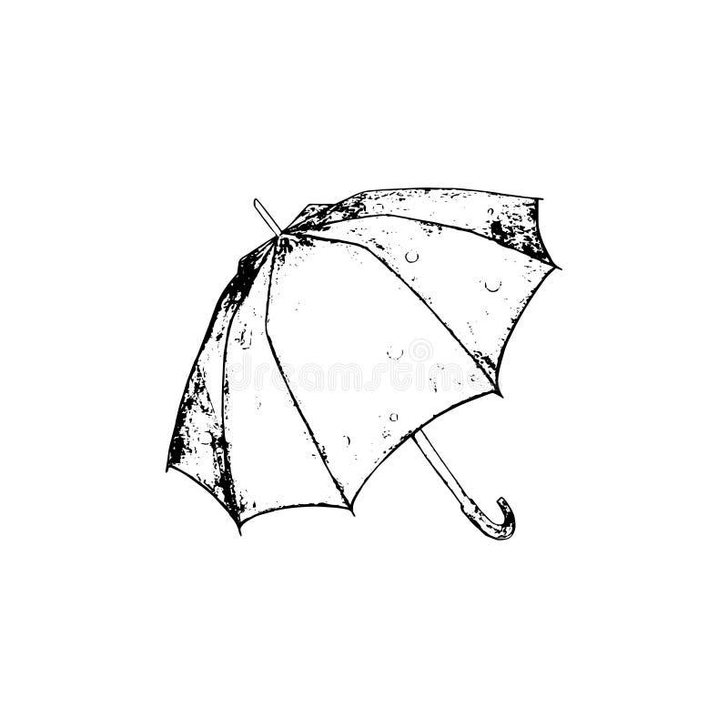 Det Openedparaplyet skissar Illustration för vektorhanddrawnÂ-svart vektor illustrationer