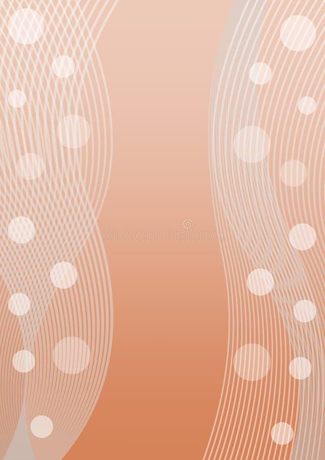 Det orange bottenläget som kontrasterar abstrakt bakgrund med genomskinlig vit, vinkar och cirklar, för broschyr, affischen, rekl vektor illustrationer