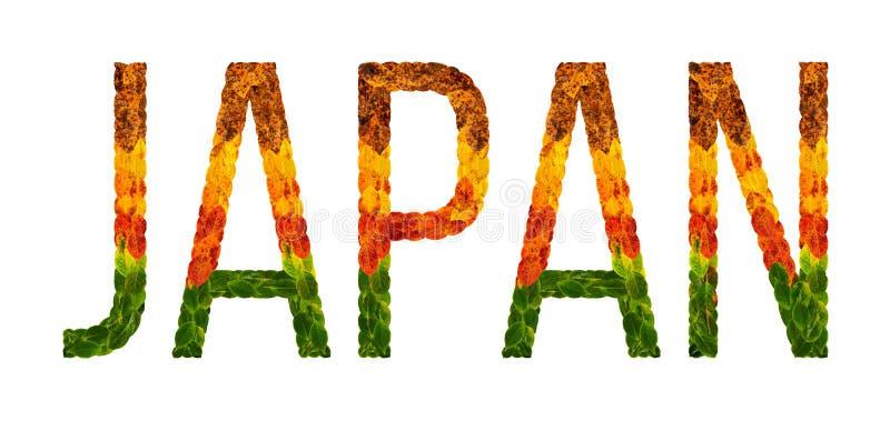 Det ordJapan landet är skriftligt med sidor på en vit isolerad bakgrund, ett baner för utskrift, en idérik framkallning stock illustrationer