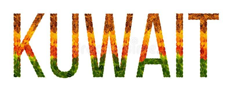 Det ordKuwait landet är skriftligt med sidor på en vit isolerad bakgrund, ett baner för utskrift, en idérik framkallning stock illustrationer