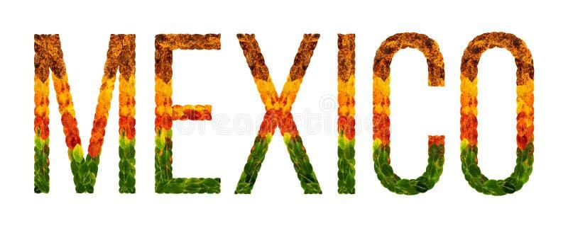 Det ordMexiko landet är skriftligt med sidor på en vit isolerad bakgrund, ett baner för utskrift, en idérik framkallning stock illustrationer