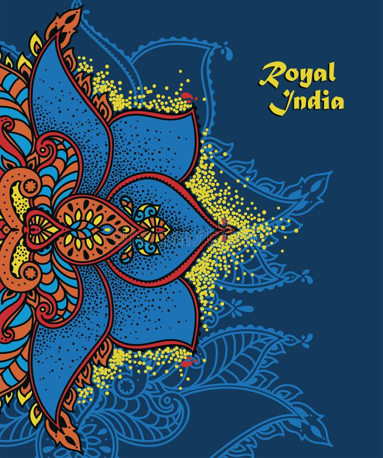 Det orientaliska stilbanret med den stiliserade lotusblommablomman, kan användas som affischen för lopp till Indien eller som häl stock illustrationer
