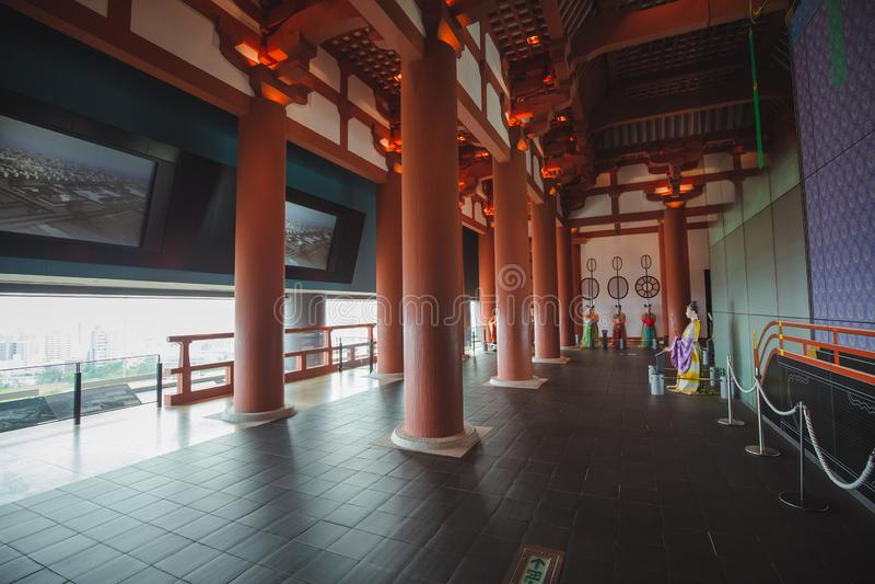 Det Osaka historiemuseet i osaka Japan, m?nga personer kommer h?r dagligt arkivbilder