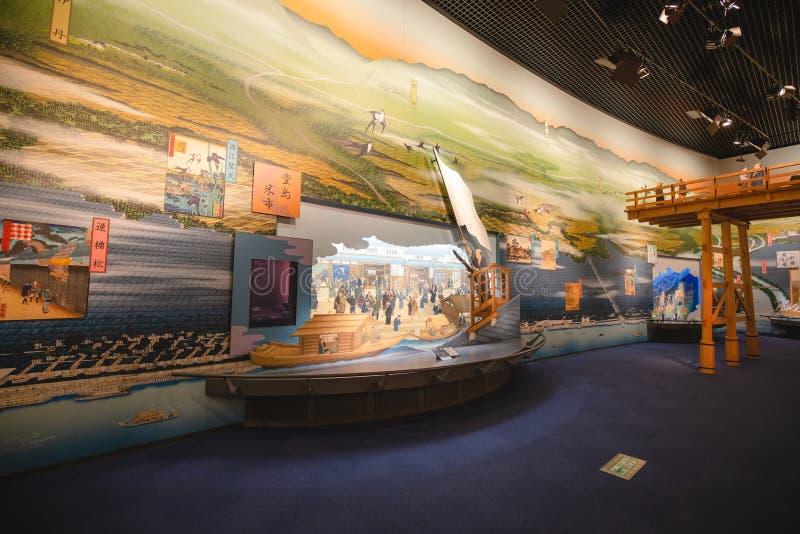 Det Osaka historiemuseet i osaka Japan, m?nga personer kommer h?r dagligt royaltyfri bild