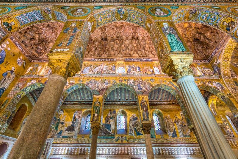 Det Palatine kapellet från den Norman Palace Palazzo deien Normanni i Palermo italy sicily royaltyfri bild