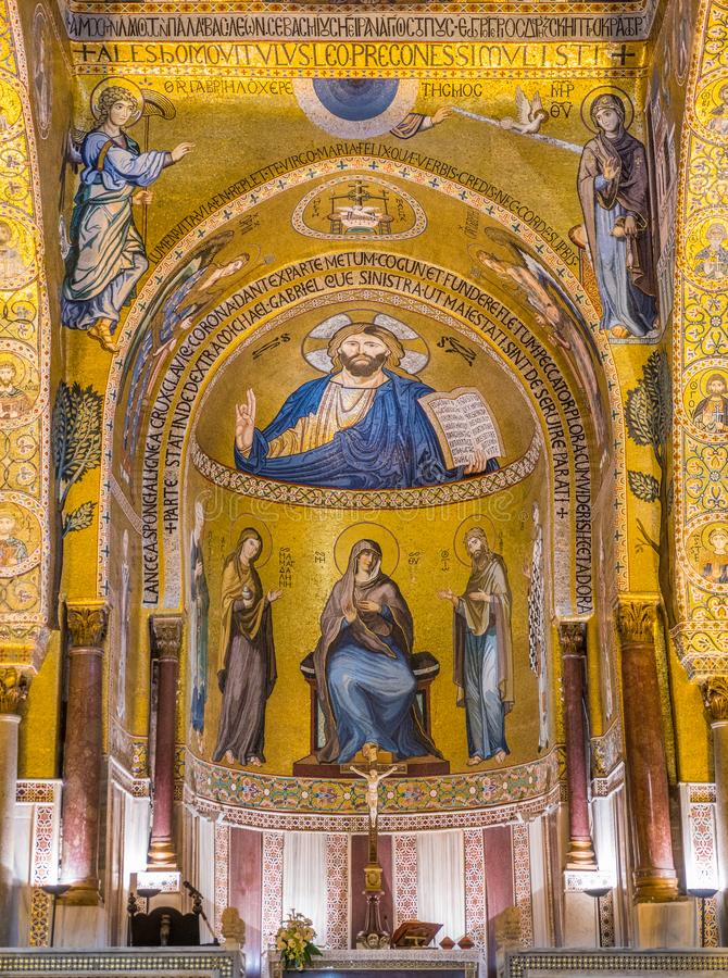 Det Palatine kapellet från den Norman Palace Palazzo deien Normanni i Palermo italy sicily arkivbild