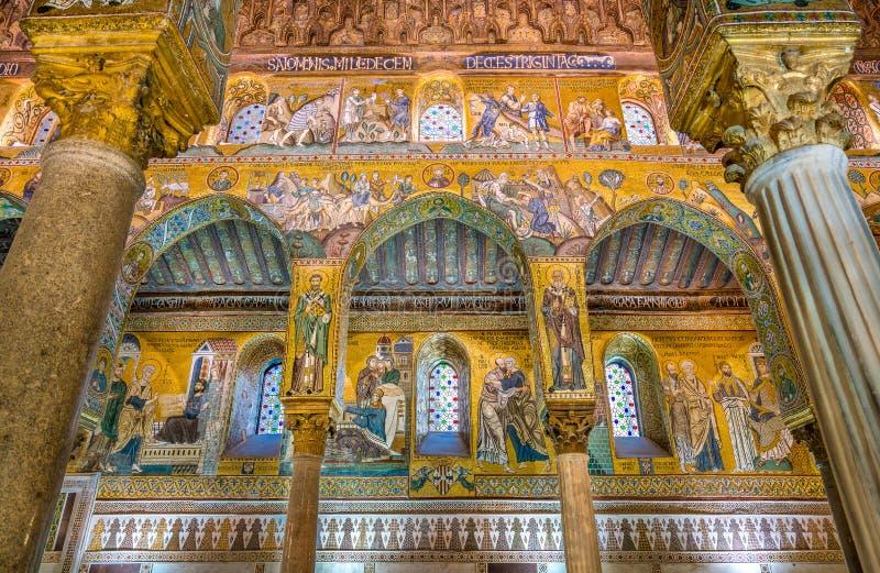 Det Palatine kapellet från den Norman Palace Palazzo deien Normanni i Palermo italy sicily arkivbilder