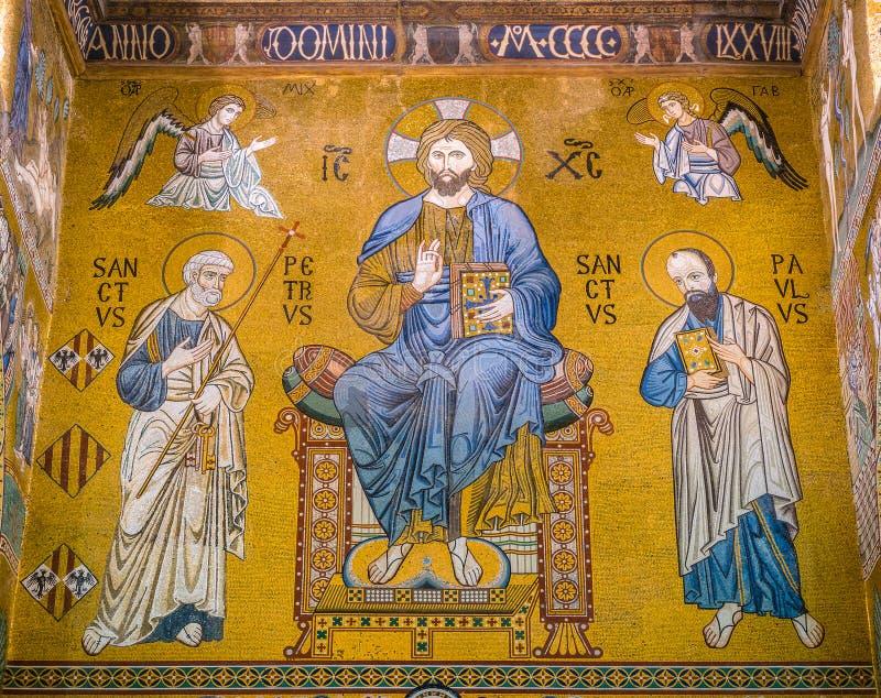 Det Palatine kapellet från den Norman Palace Palazzo deien Normanni i Palermo italy sicily fotografering för bildbyråer