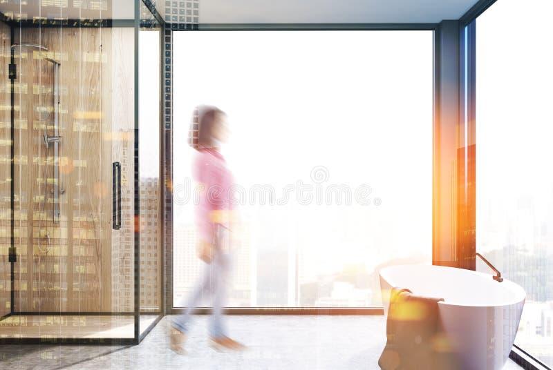 Det panorama- badrummet, badar och duschar suddighet vektor illustrationer