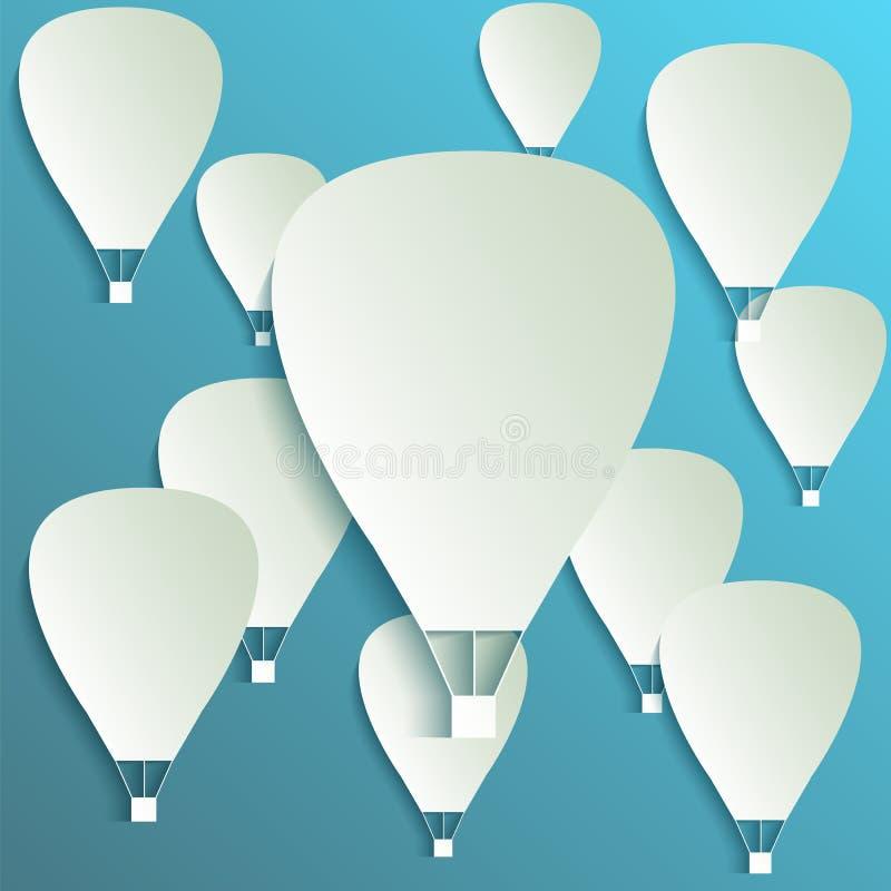 Det pappers- banret för ballongen för varm luft med droppe skuggar royaltyfri illustrationer