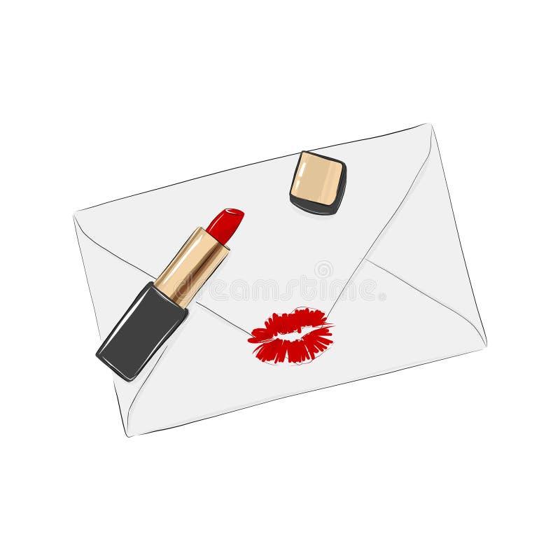 Det pappers- kuvertet med röda kanter stämplar på det Romantisk valentinillustration Kosmetisk illustration för röd läppstift med stock illustrationer