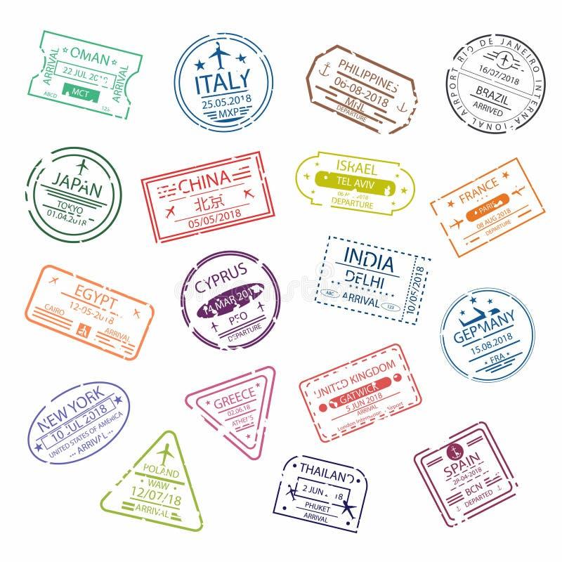 Det passstämpeln eller visumet undertecknar för tillträde till de olika länderna Symboler för internationell flygplats stock illustrationer